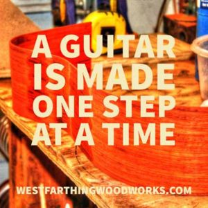 A guitar is made one step at a time