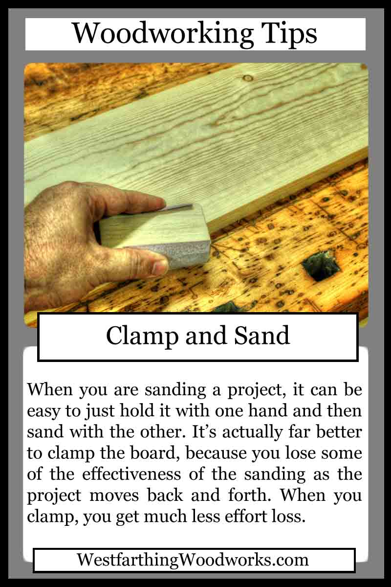 woodworking cards clamp and sand