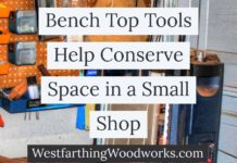 Bench top tools help conserve space in a small shop