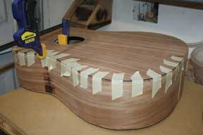 How-to-Make-an-Acoustic-Guitar-Series-Part-Eighteen-Gluing-the-Binding-Strips-purfling-strips-glued-on