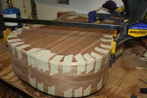How-to-Make-an-Acoustic-Guitar-Series-Part-Eighteen-Gluing-the-Binding-Strips-tape-clamps