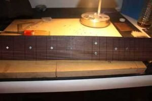 How-to-Make-an-Acoustic-Guitar-Series-Part-Twenty-Four-Fretboard-Inlay-letting-the-fretboard-cure